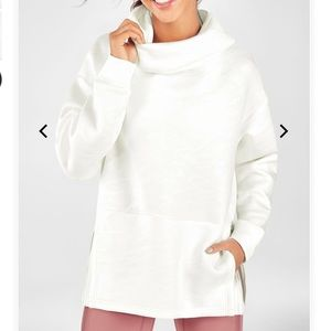 White hoodie with awesome detailing, side slits